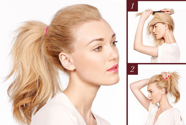 Как сделать красивый хвост с начесом фото