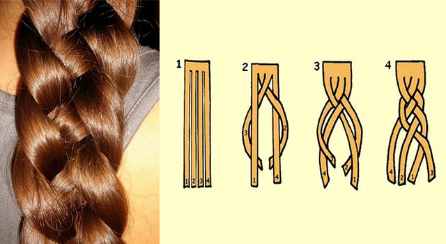схема плетения из четырех локонов